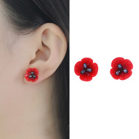 Maywell star red poppy 925 pure silver natural pearl stud earrings