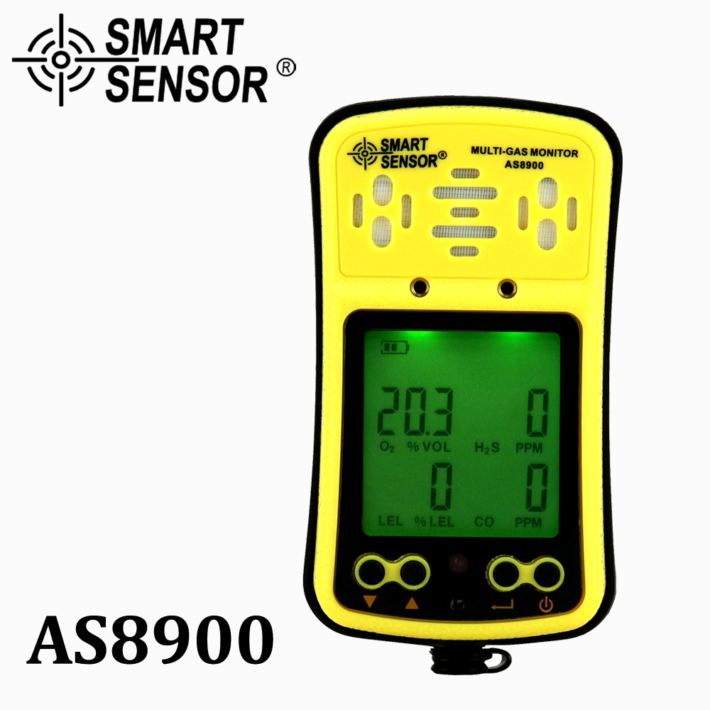 AS8900 Multi Gas Monitor Handheld gas detector Oxygen O2 Hydrothion H2S Carbon Monoxide CO Combustible Gas 4 in 1 gas analyzergas monitoroxygen detectoroxygen gas detector -