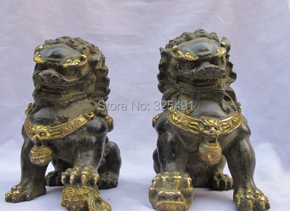 Details about China Classical Bronze Guardian Foo Dog Lion statue pair