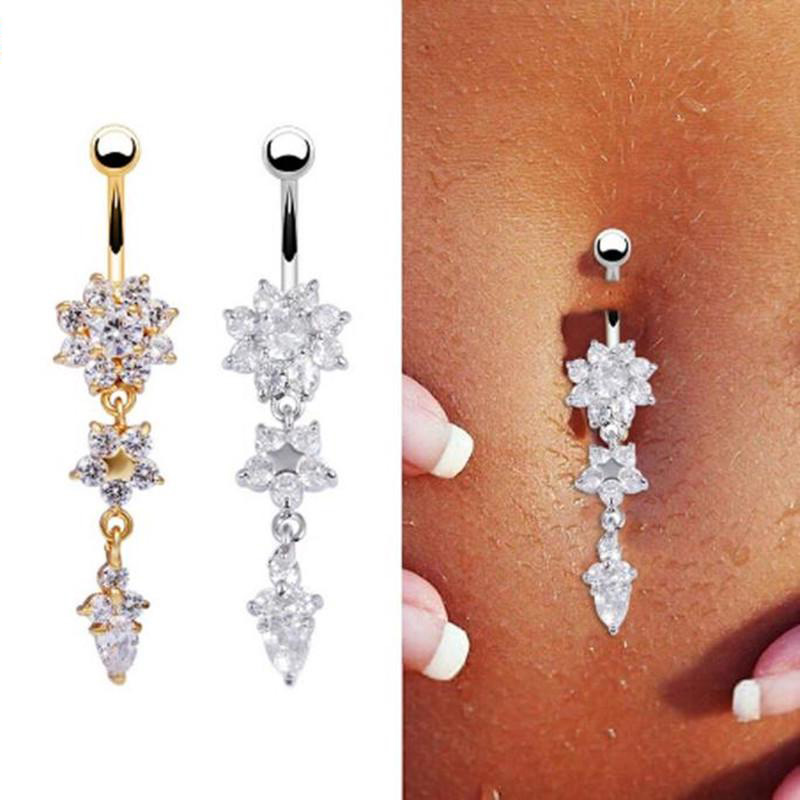 QUEEN BEE Belly Button Bars Silver Navel Piercing Faux Ruby Bar Rings Piercings