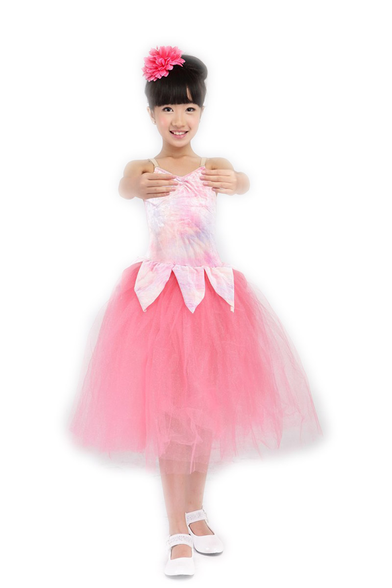ef0853e9dc64e 2016 Sıcak Satış Çocuklar kadın Çocuk Dans Elbise çocuk Elbise Spagetti  Kayışı Abiye Kostüm Performans Giyim