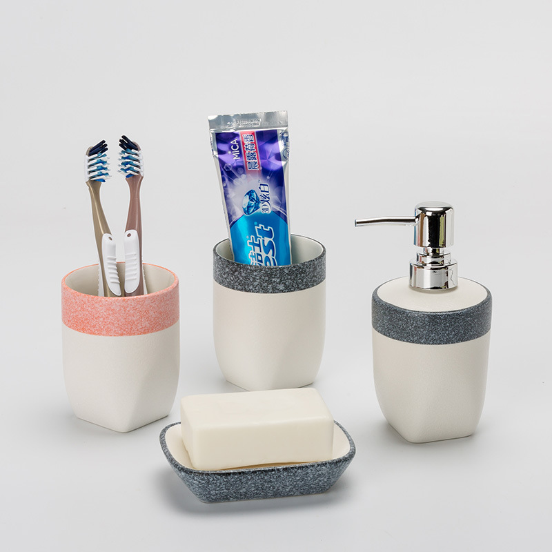 Bathroom toiletries/mouth cup/brushing cup/lotion bottle/soap dish wedding gift ceramic bathroom set simple bathroom ceramic wash four piece suit cosmetics supply brush cup set gift lo861050