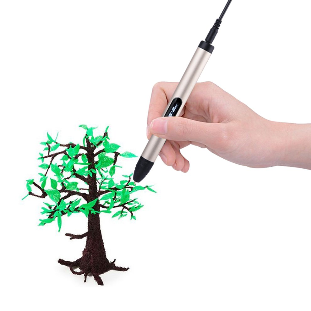 Aladdinbox Portable High Temperature 3D Printing Pen PLA Filament 3D Pen Painting Drawing Pen for Children Kids DIY Gift EU Plug 2016 new white high quality led 3d pen with free abs pla plastic filament 3d printing pen for kid gift 3d drawing and doodling