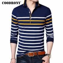 COODRONY T Shirt Men Casual Striped Long Sleeve Tops Men Famous Brand Clothes 2018 Autumn Soft Cotton T Shirt Men Tee Homme 8608
