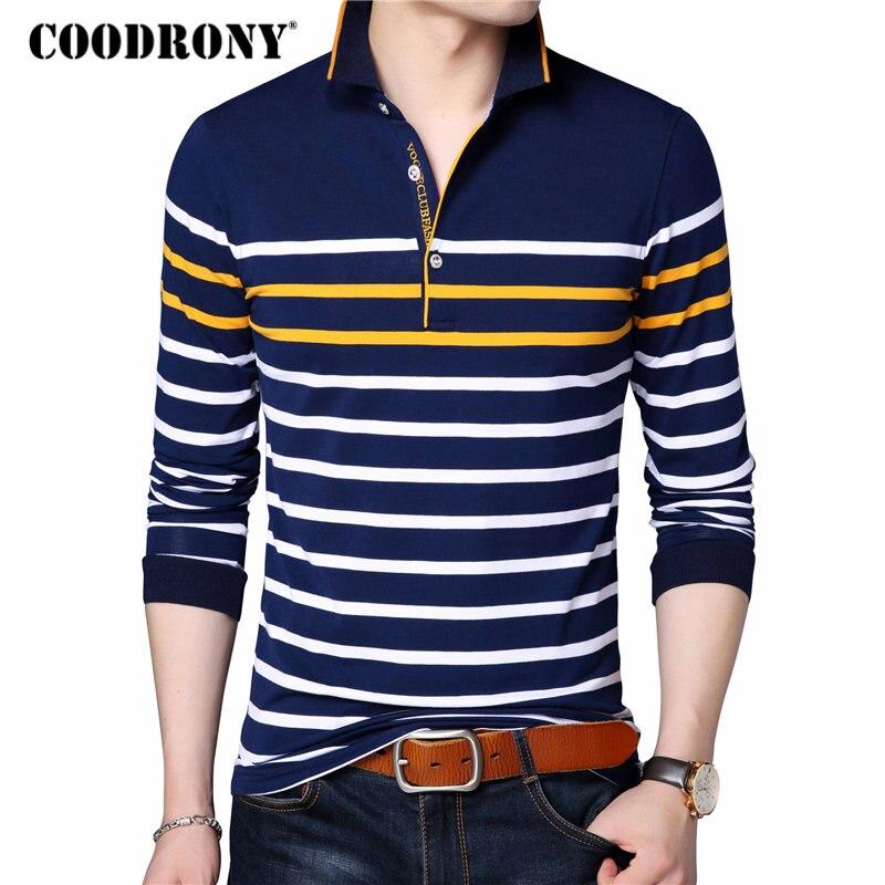 COODRONY   T     Shirt   Men Casual Striped Long Sleeve Tops Men Famous Brand Clothes 2018 Autumn Soft Cotton   T  -  Shirt   Men Tee Homme 8608