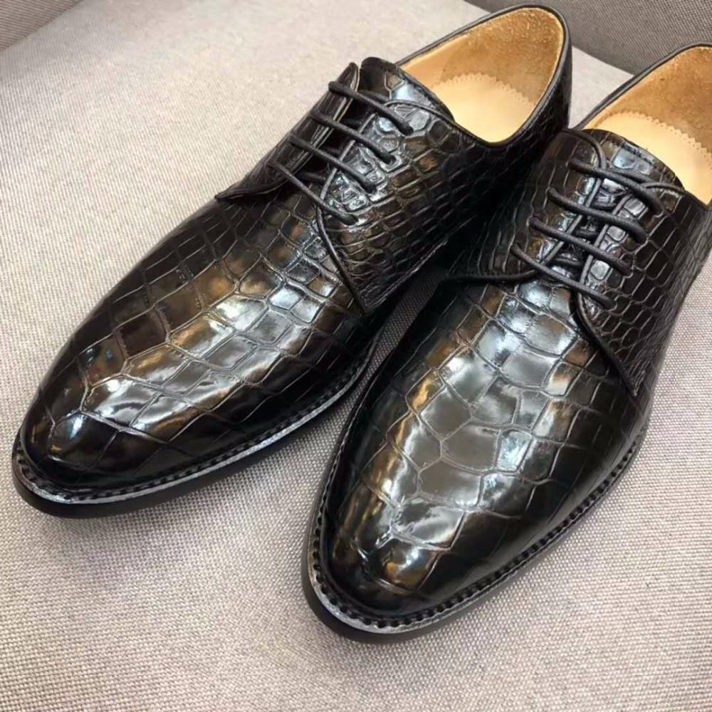 Shoes New Design Hot Genuine Real Crocodile Belly Skin Men Shoe Durable Solid Matt Crocodile Skin Men Business Dress Shoe Black Color Modern Design Formal Shoes