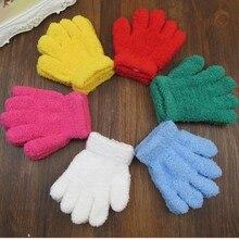 Желтые милые детские перчатки, рукавицы, теплые зимние аксессуары для мальчиков и девочек
