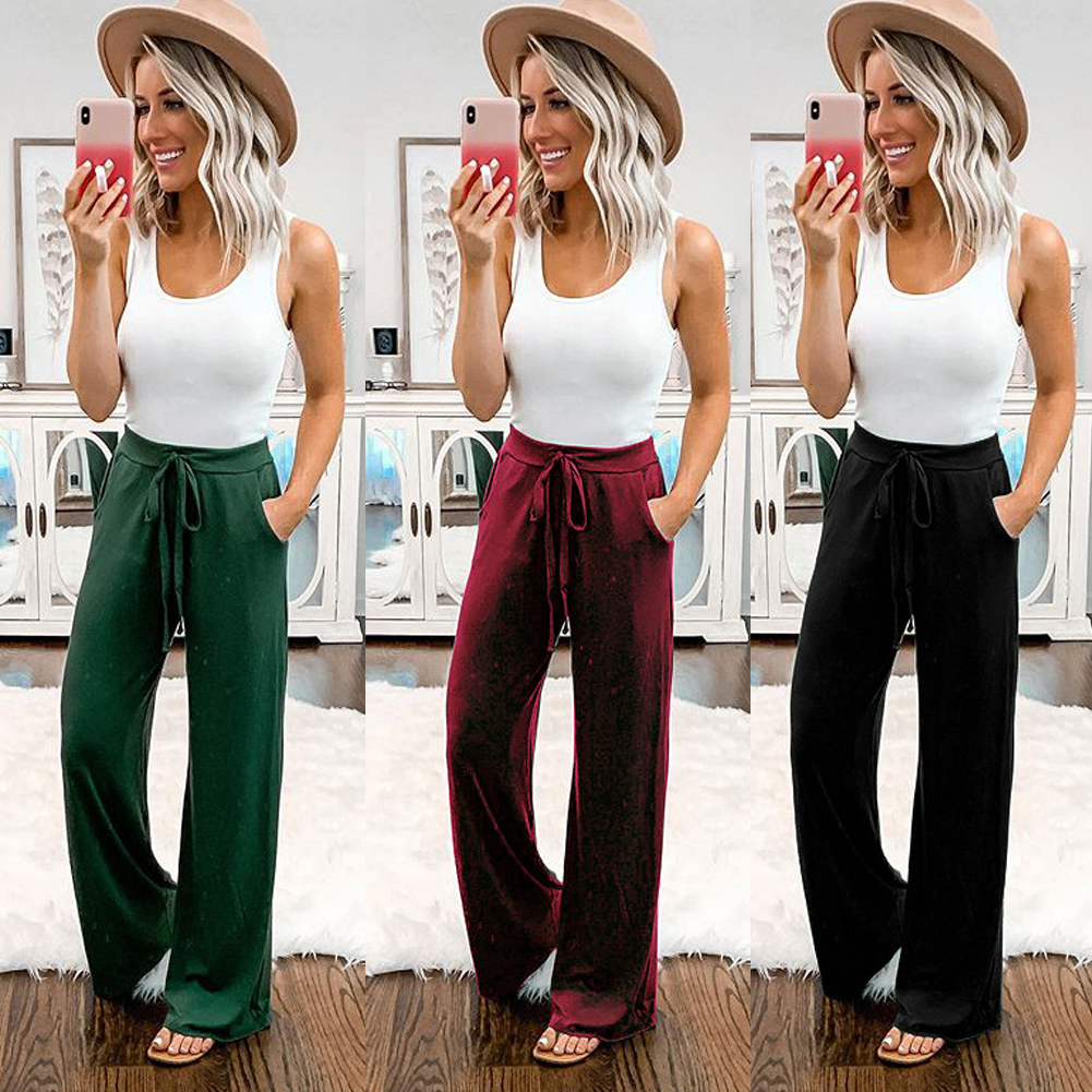 Womens Summer Fashion Solid Color Hight Waist Full Length Drawstring Slouchy Casual Sports Straight Trousers Evening Party Pants