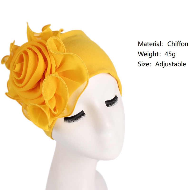 Женская шляпа Цветочные эластичные шапочки Большой Цветок горрас мягкий твердый тюрбан, повязка на голову Кепка Свадебные Sombrero мусульманские модные шапки