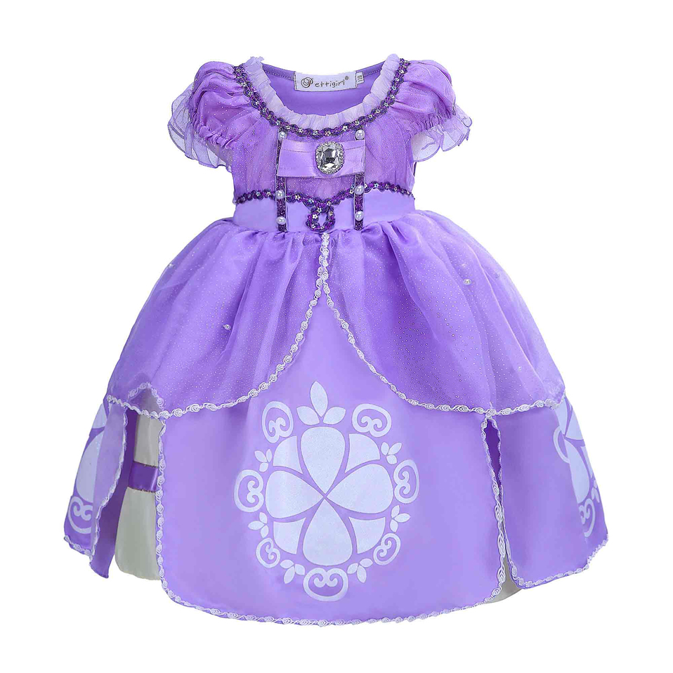 Sofia Princess Dress Kids Cosplay Costumes Girls New Arrival: Pettigirl Summer Purple Sofia Princess Costumes Cosplay