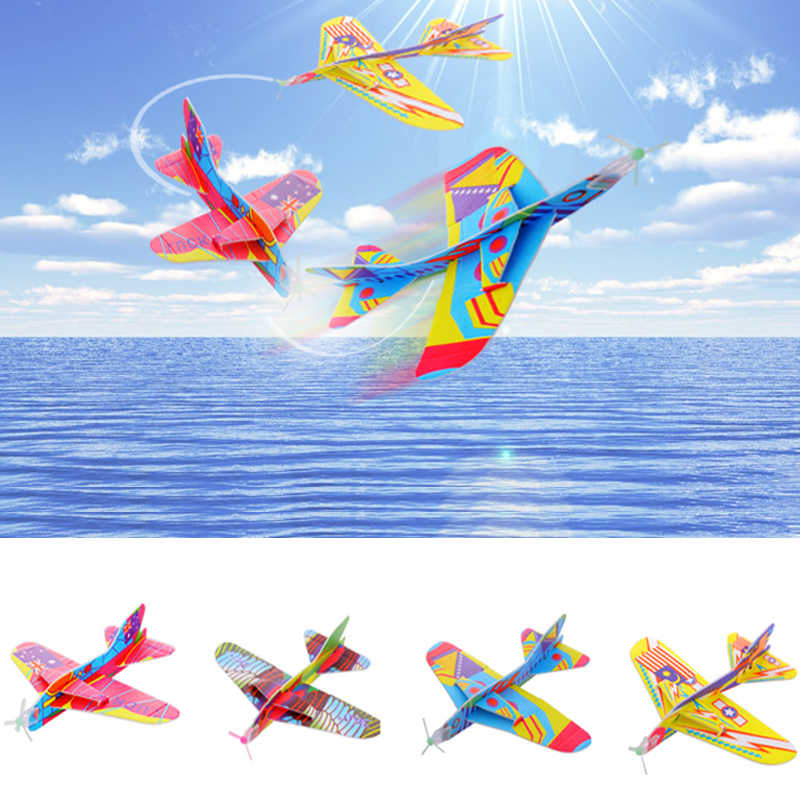 DIY Magic Roundabout Combat Aircraft Foam Paper Airplane Outdoor Creative Kids Toy Model Hand Throw Flying Glider Planes Toys
