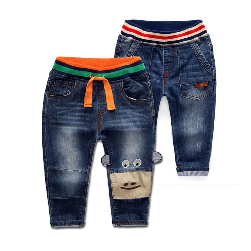 цена Jeans Children Wear Jeans Blue Jeans For Boy Casual Baby Boy Denim Pants Children Broken Hole Pants