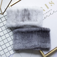 FXFURS 2019 Women Genuine Mink Fur Ring New Knitted Mink Scarf Real Mink Fur Hat Fur Headband Muffler Ring Elastic Neckerchief