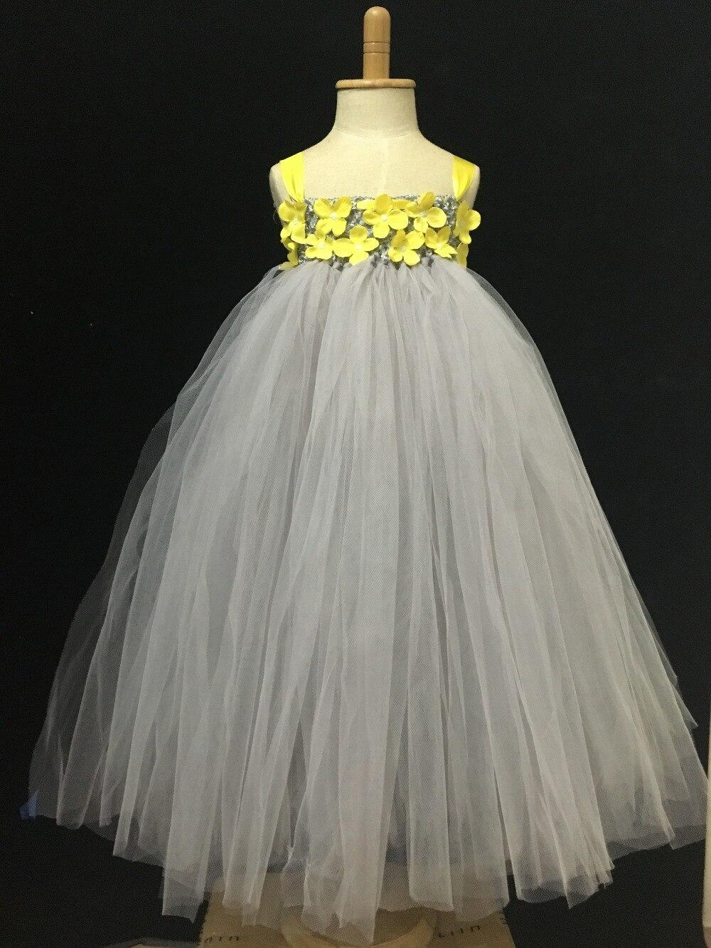 Gadis kecil Abu-abu Panjang Tutu Dress Anak Fluffy Tulle Tutus Ball - Pakaian anak anak