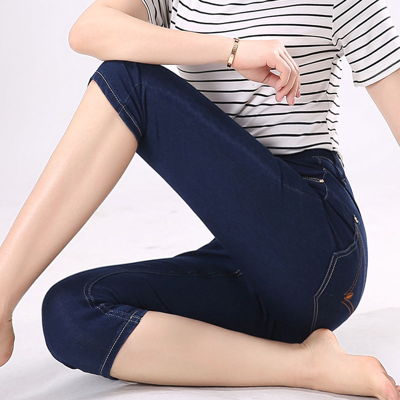 New Women Skinny   Jeans   Capris Female Summer Women Stretch Waist Blue Denim Pants Knee Length Pencil   Jean   Plus Size