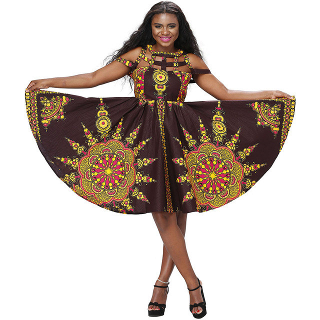Shenbolen African Dresses for Women Dashiki Traditional clothes Print Wax  Fabric Casual Party Dresses a95b639b6b