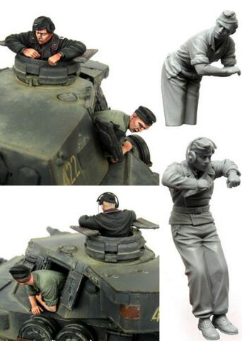 1/35 Resin Figure German Tank Crew 2pcs Model Kits