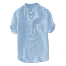 Cânhamo masculino, mangas curtas de linho lisa algodão blusa top