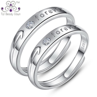 Real 925 Pure Silver One Pair Resizable Female Male Synthetic Diamond Caring Forever Rings For Women