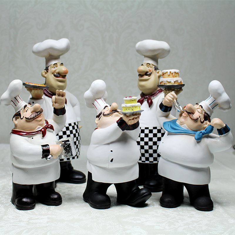 European Cook Ornaments Creative Resin Chef Statue Restaurant Bar Cafe Kitchen Dining Bar Decorations Ornaments Chef Figurine