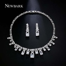 NEWBARK Luxurious Jewelry Sets Earrings And Necklace Geometric Cut Splicing CZ Diamond Symmetrical Square White Gold Plated Set