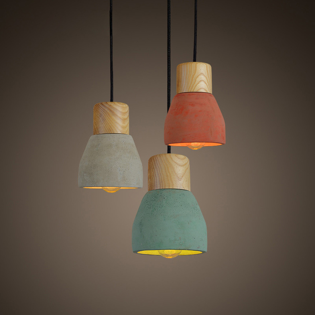 Finest Nordic Minimalist Retro Pendant Light Wood Cement Vintage  RN32