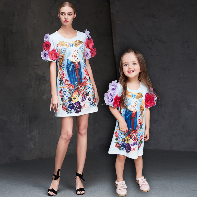 mother daughter dresses Small fresh Handmade bead Printed mother and daughter dress matching mother daughter clothes 20# запонки daughter qj03473