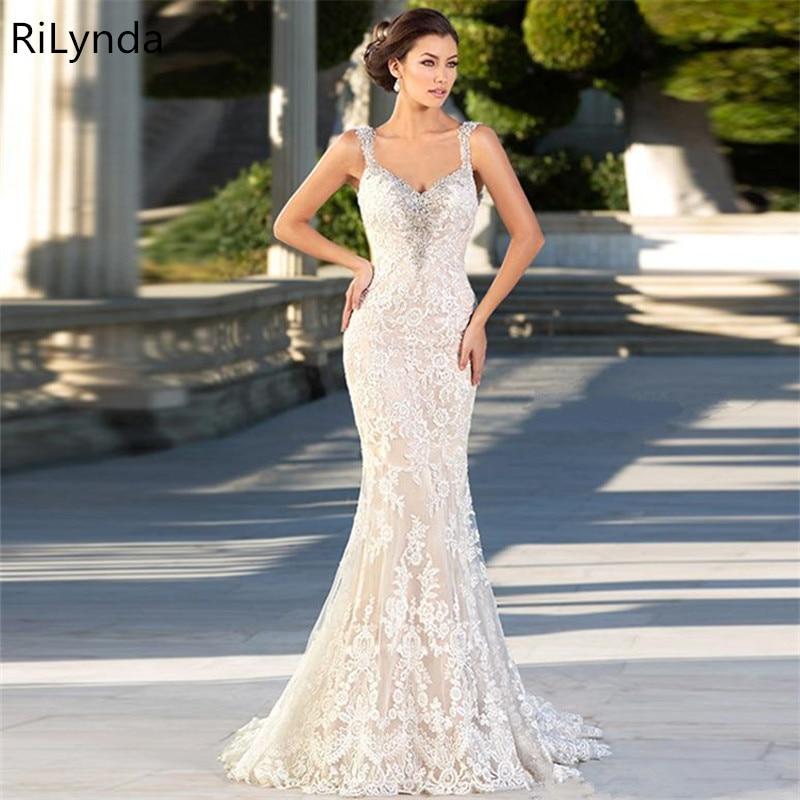 Image 4 - 2019 Boho Chic Wedding Dresses Spaghetti Straps Twist Lace Chiffon Mermaid Open Back Bohemian Dress Bridal GownWedding Dresses   -