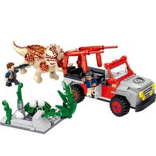 270pcs Jurassic World Dinosaurs Park theft Triceratops Eggs Figures Building Blocks Toys For Children blocks toy loz mini kids blocks jurassic world building blocks lot huge dinosaurs jurassic park christmas toys for children