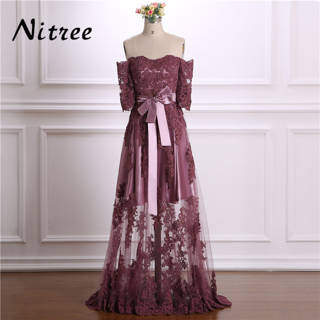 Off The Shoulder Prom Dresses 2018 See Through Turkish Dubai Prom