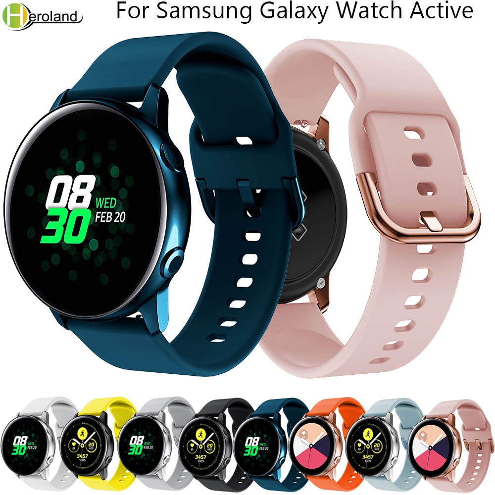 Silicone 20mm Watch Strap For Original Samsung Galaxy Watch Active Band Galaxy 42mm Gear S2 Bip Sport Smart Wristbands Watchband