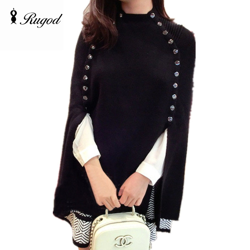 RUGOD 2019 New Women Cloak Sweater Pullover Sleeveless Buttons Soft Shawl Coat Autumn Winter Fashion Vintage Knitted Poncho Tops