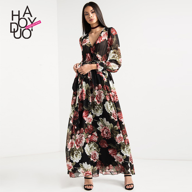spring western style fashion slim sexy Vintage print flowers long sleeve V neck SML XL XXL woman's Casual long dress