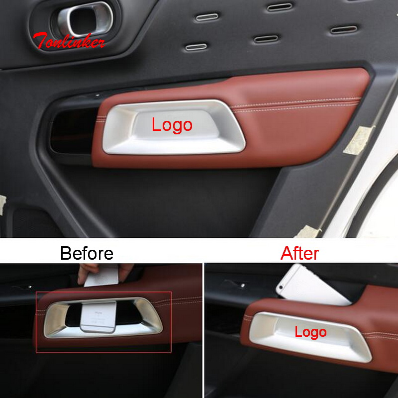 Tonlinker Interior Door Armrest Leakproof Cover Sticker For CITROEN C5 Aircross 2018-19 Car Styling 2/4 PCS ABS Cover Sticker