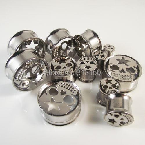 64pcs/lot Free Shipping  Fashion Internally Skull Double Flared Flesh Tunnel with Inside Screw Ear Plug  piercing jewelry