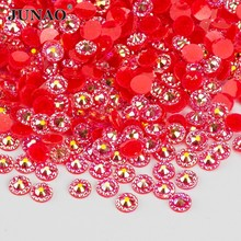 JUNAO 4 5 6 mm Red AB Crystal Flower Rhinestones Round Resin Beads Non Hotfix Crystal Applique Nail Art Stones Flatback Strass(China)