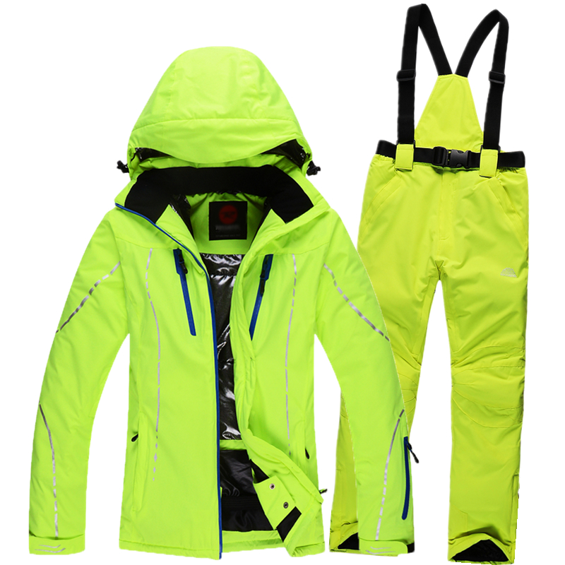 Prix pour Russie-30 de Haute Qualité Nouvelle 2015 Hiver Vêtements Set Vêtements D'hiver En Plein Air Costume de Ski Femmes Ensemble Ski Coupe-Vent Ensemble thermique