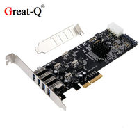 Great Q Supper speed 20G PCIe 4X to 4 channel USB 3.0 Expansion card PCI Express Riser Card Controller Adaptor Converter
