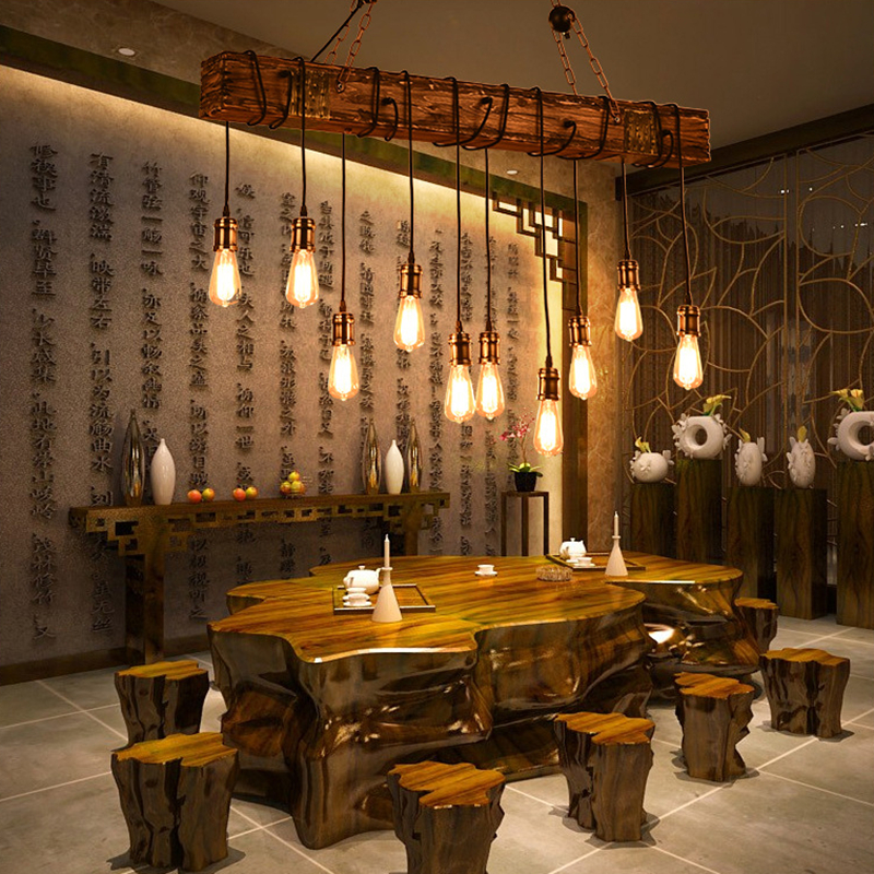 Solid Wood lustre Vintage Chandelier Lighting lustre suspension Coffee Bedroom Lighting Iron Wooden Lamp for loft