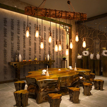 עץ מלא זוהר בציר נברשת השעיה תאורה זוהר קפה חדר שינה תאורת ברזל + עץ מנורת עבור לופט דקור