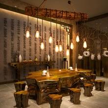 Lustre de madeira maciça do vintage iluminação lustre suspensão café quarto iluminação ferro + lâmpada de madeira para loft decoração