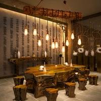 Solid Wood lustre Vintage Chandelier Lighting lustre suspension Coffee Bedroom Lighting Iron+Wooden Lamp for loft decor