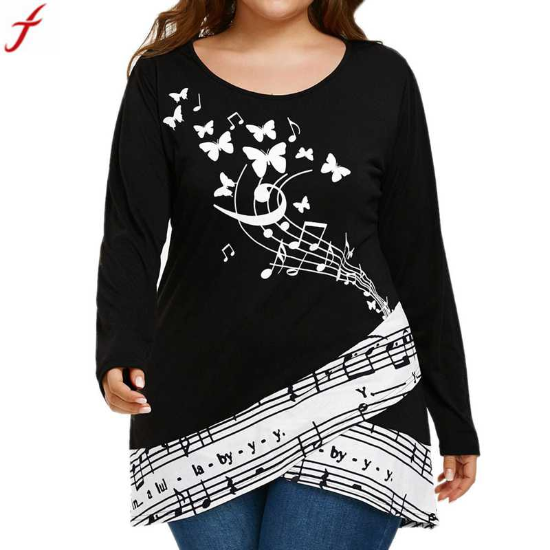 Plus Size 5XL Butterfly Musical Note Blouse Shirt Women Long Sleeve shirt Tops Blouse Round Neck Tunic Tops Loose Blusas Блузка