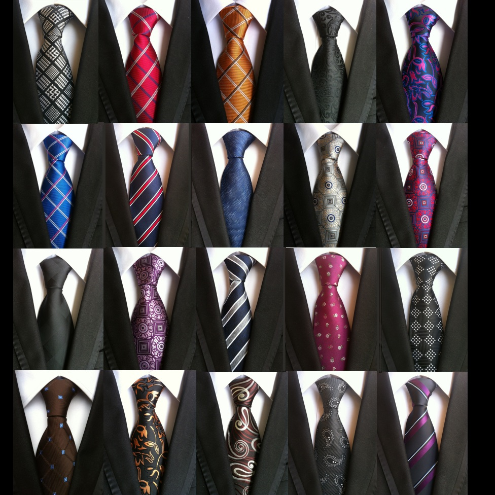 HOOYI Mens Ties For Men Party Floral Silk Tie Plaid Business Necktie Stripe Wedding Gift Cravat Christmas Accessories