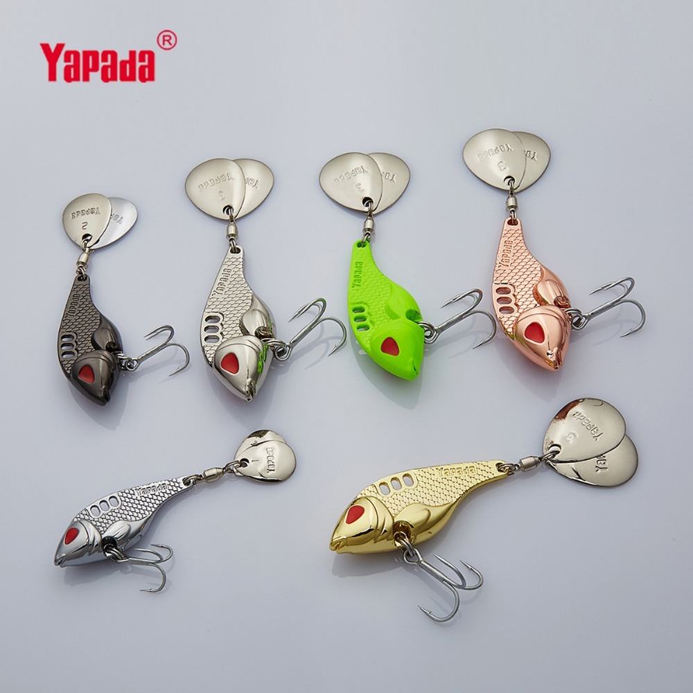 YAPADA VIB 301 Tycoon 10g / 15g / 20g / 25g Treble Hook + Rotating Sequins 41mm / 47mm / 52mm / 55mm Metal VIB Fishing Lures Multicolor