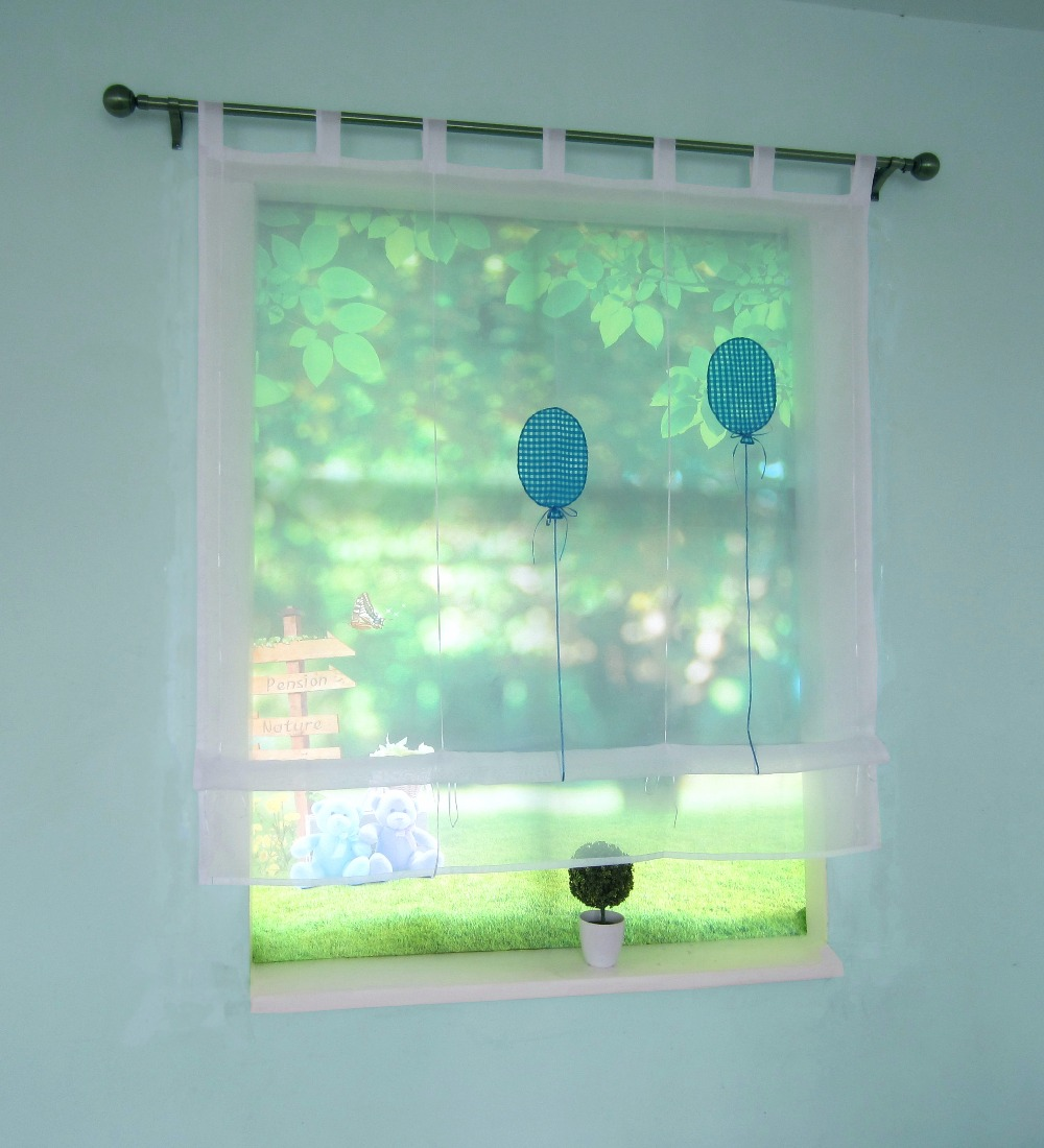 Sheer Liftable Window Curtain Solid Color Kitchen Balcony Voile ...