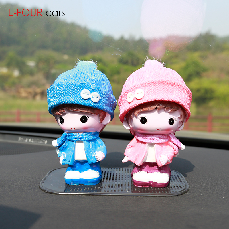 E-FOUR Cartoon Ceramics Cute Car Ornaments Auto Interior Decoration Little Toys Doll Car-Styling 2 pieces Lovely Accessories