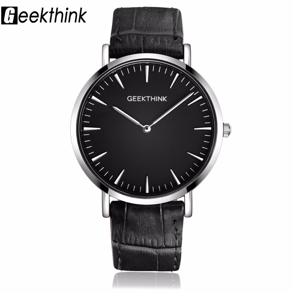 GEEKTHINK New Fashion Top Luxury Brand Quartz Watch Men Ultra Thin Casual Sport Business Japan Movement Men's Watches Clock geekthink brand ultra slim top thin quartz watch men casual business watch japan analog men relogio masculino with gift box