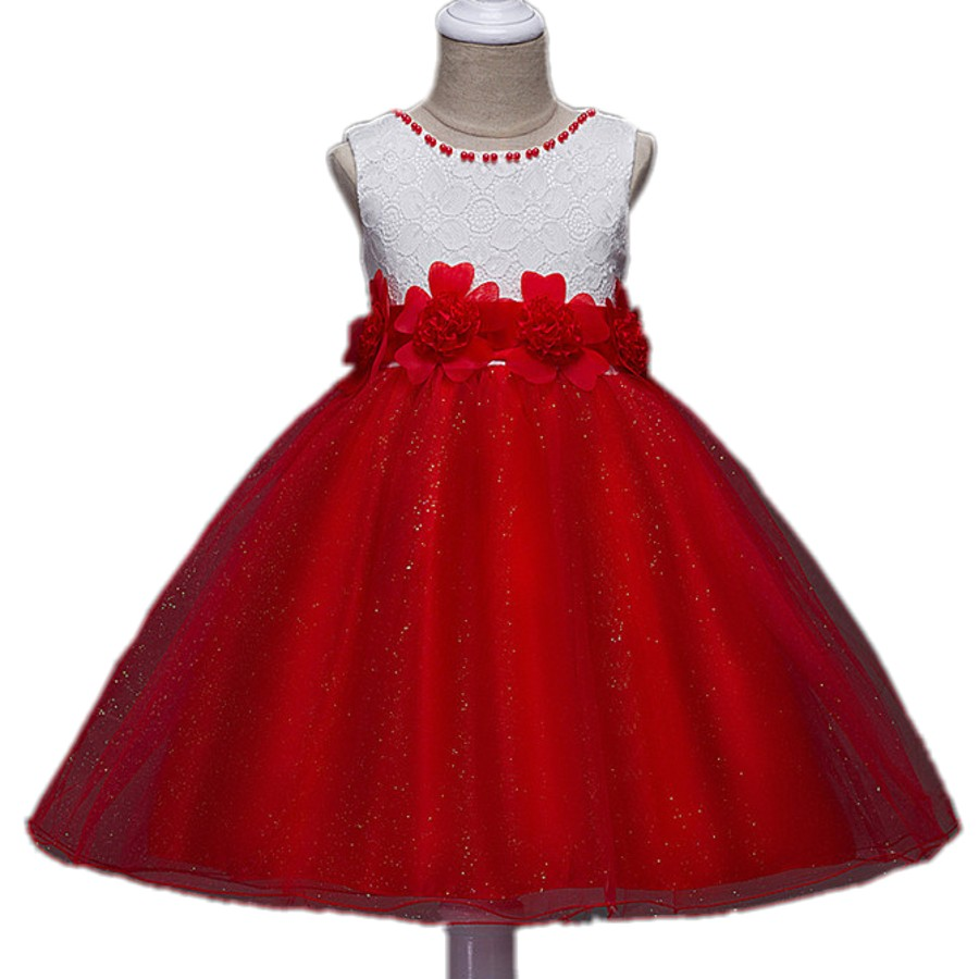 White&Red 2017 New Summer Flower Kids Party Dresses For Weddings Children's Princess Girl Evening Prom Toddler Girl Clothes red new summer flower kids party dresses for weddings formal princess girl evening prom sleeveless girl bow mesh dress clothes