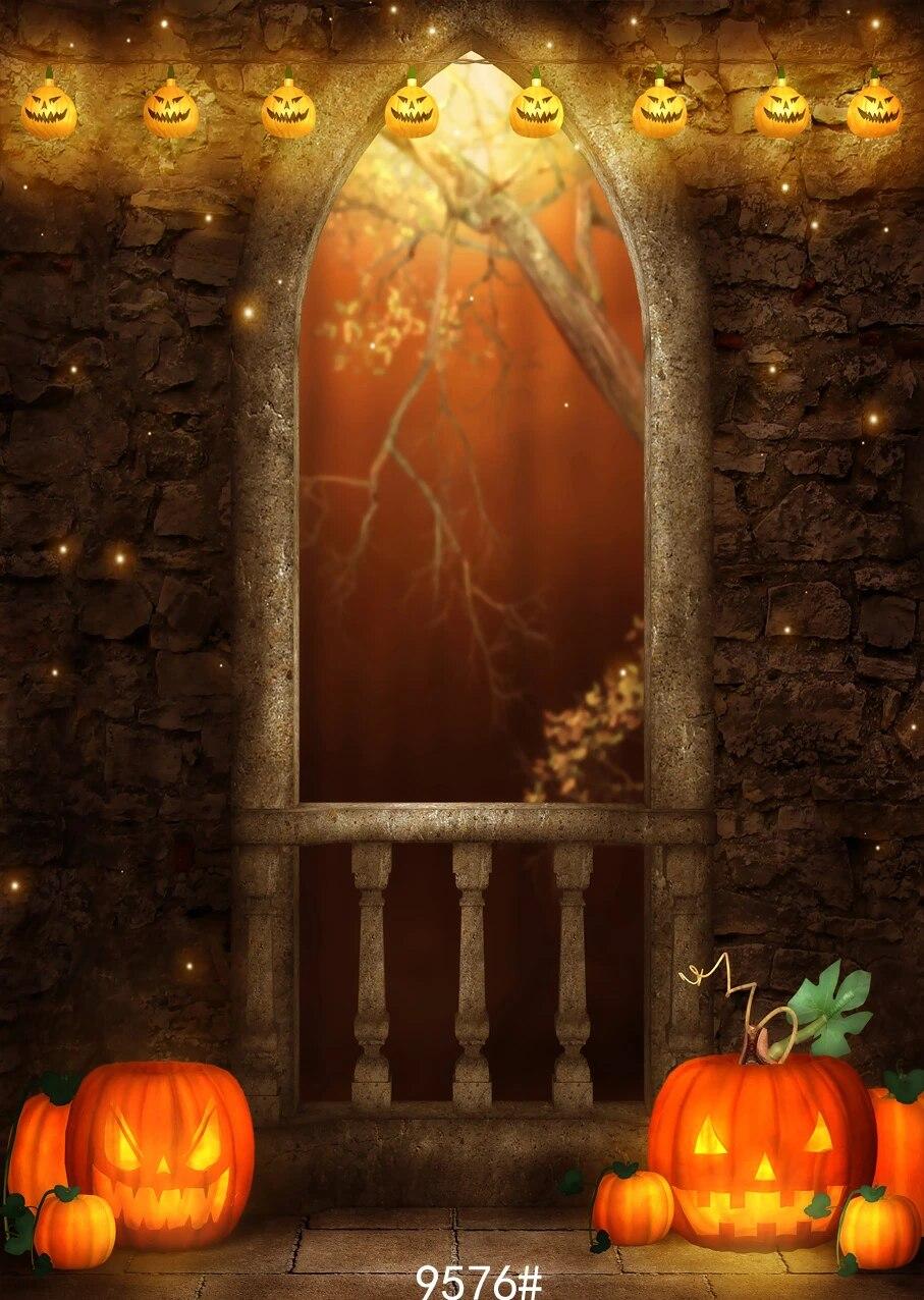 OERJU 15x10ft Happy Halloween Backdrop Scary Jack Pumpkin Lantern Ghost Haunt House Full Moon Photography Background Trick or Treat Theme Halloween Party Decorations Newborn Baby Shower Wallpaper